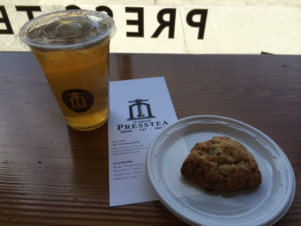 Iced green tea and a delectable scone